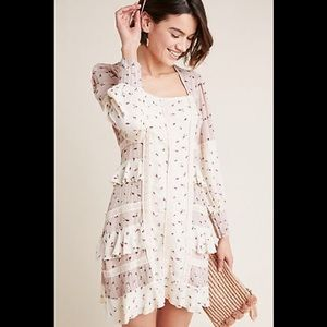 Anthropologie Floral Ruffle Tiered Dress